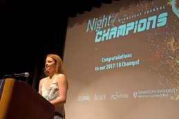 Nazareth guard Annie Stritzel receives Female Athlete of the Year, June 20, during the 4th annual Night Of Champions in the Lund Auditorium at Dominican University in River Forest. | Alexa Rogals/Staff Photographer