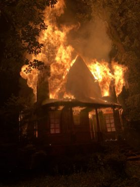 Fire destroyed the home at 3744 Stanley Ave. in Riverside Lawn early on June 28. (Photo courtesy of the Lyons Fire Department)