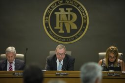 From left, Mike Hayes, village attorney, Hubert Hermanek, mayor, and Kathy Ranieri, clerk, listen to the public comments on Aug. 13, during a North Riverside Village board meeting at the Village Commons on Des Plaines Avenue. | Alexa Rogals/Staff Photographer