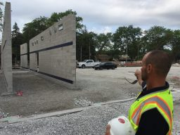 Three interior walls for the new S.E. Gross Middle School gymnasium are already up, and the outside precast walls will be installed just after Labor Day. (Bob Uphues   Staff)
