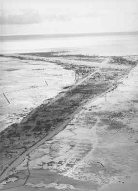 After the 3-day battle for Betio Island (above), Carlsen was buried in a cemetery just below the far east end of the island airstrip. | Photo provided | Photo provided