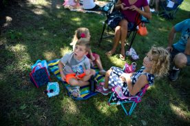 Classmates enjoy a picnic lunch with their families on Aug. 23, during a teddy bear picnic after the first day of kindergarten at Hollywood Elementary School in Brookfield. | Alexa Rogals/Staff Photographer