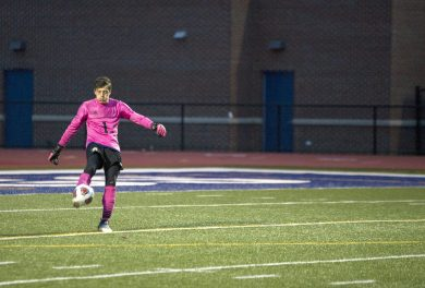 RBHS goalkeeper Daniel Sessler (#1) has posted several shutouts during the Bulldogs' recent winning streak. (Alexa Rogals/Staff Photographer)