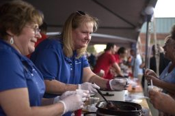 Vera Wilt, left, and Liane Blauw, both from Riverside Township, serve up their chili to guests on Sept. 14, during the annual Autumn Fest and Chili Cook-off at the North Riverside Village Commons. | Alexa Rogals/Staff Photographer