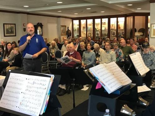 Rev. Dale Jackson presides over a church service at Caledonia Senior Living at Riverside Presbyterian Church's inaugural Fifth Sunday, which included a performance by the church's bell choir and communion. | PROVIDED