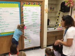 First grade teacher Jessica Valverde teaches Spanish to her students on Sept. 22, at Congress Park School in Brookfield. | Photo by Bob Skolnik
