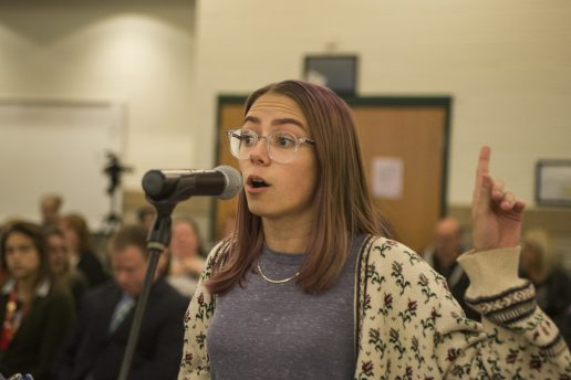 Taylor Koc, of Brookfield, expresses her frustration towards to board on Oct. 22, during a District 103 School Board meeting at George Washington Middle School in Lyons. | ALEXA ROGALS/Staff Photographer