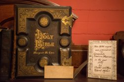 A Holy Bible is displayed in the 2nd floor room on Oct. 26, at the Grossdale Station Museum in Brookfield. | ALEXA ROGALS/Staff Photographer