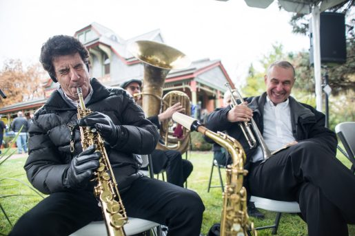 Members of the West End Jazz Band play old songs for attendees on Nov. 3, during the Founder's Day event at Grossdale Station in Brookfield. | ALEXA ROGALS/Staff Photographer