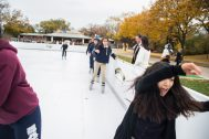 Students from Mariano Azuela Elementary School in Chicago skate on the new Chicago Wolves Ice Skating Rink on Thursday, Nov. 1, at Brookfield Zoo. | Alexa Rogals/Staff Photographer