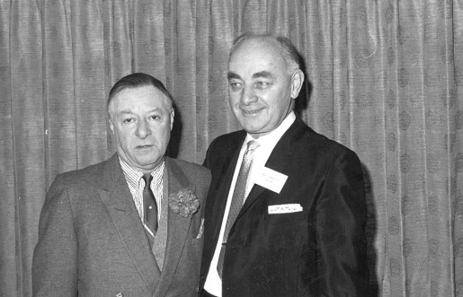 George Jessel (left) and Henry Moravec during the former's appearance during Marshall Savings and Loan's 100 Million Dollar-versary in January 1963. | Photo courtesy Liz Faron collection