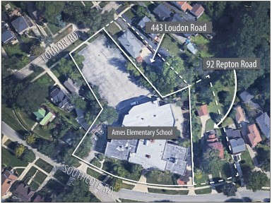 District 96 will buy 443 Loudon Road, which is immediately northwest of Ames School. The district has alreday bought and demolished a house at 92 Repton Road, east of the school. (Illustration by Javier Govea | Staff)