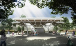 A central pavilion (the pictured style is just an example) will be a focal point of the new Hamill Family Science and Nature Plaza that's replacing Monkey Island and will open later this summer. | Courtesy of the Chicago Zoological Society