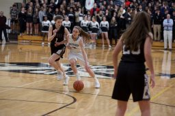 Nazareth senior Jovanna Martinucci drives toward the basket under pressure from Fenwick sophomore Lauren Hall in the final of the 3A Fenwick Sectional. The Roadrunners won 46-37. (Photo by @scotchindian)