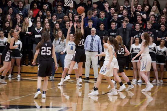 Fenwick junior Sheila Hogan takes a shot in the middle of the lane against Nazareth. The Roadrunners defeated the host Friars 46-37 in the Fenwick Sectional title game Feb. 21. (Photo by @scotchindian)