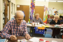 Hank Ohan, of North Riverside, listens to Bingo numbers being called out on Feb. 20, during Bingocize at the North Riverside Public Library.   ALEXA ROGALS/Staff Photographer