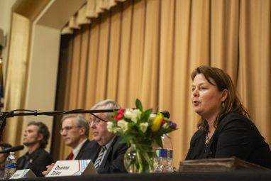 Deanna Zalas, one of six candidates running for a seat on the Riverside-Brookfield High School District 208 Board of Education, answers a question during a forum hosted by Indivisible West Suburban Action League on March 13 in Riverside. | Alexa Rogals/Staff Photographer