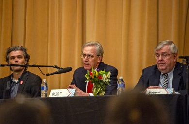 Incumbent District 208 school board member John Keen (center) introduces himself at the March 13 candidate forum in Riverside as challengers Thomas Jacobs (left) and Matthew Sinde listen. | Alexa Rogals/Staff Photographer