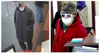 The FBI released a still image (left) from a surveillance camera at First America Bank in Riverside showing the man suspected of robbing it on March 18. Note the suspect's very bright orange shoes. The FBI believes the same man robbed a PNC Bank branch in Berwyn on March 12 (right). (Courtesy bankrobbers.fbi.gov)