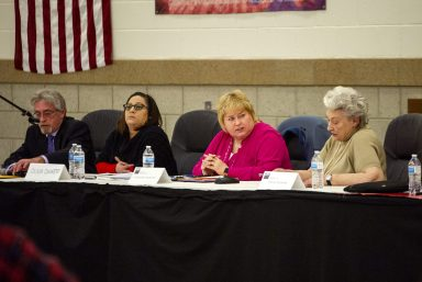 From left, candidates Vito Campanile, Olivia Quintero, Jacqueline Magsaysay and Joanne Schaeffer listen to other candidates answer questions on March 20, during a District 103 candidate forum at George Washington Middle School in Lyons.   Alexa Rogals/Staff Photographer