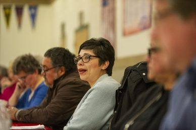 Connie Esparza talks to attendees on March 20, during a District 103 candidate forum at George Washington Middle School in Lyons.   ALEXA ROGALS/Staff Photographer