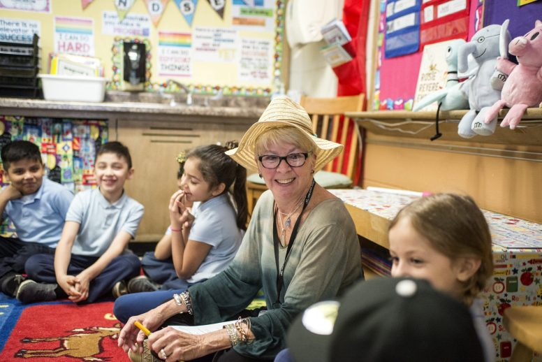 Interim Principal Mindy McMahon talks with students in a second-grade classroom on March 25, at Lincoln Elementary School in Brookfield. | Alexa Rogals/Staff Photographer
