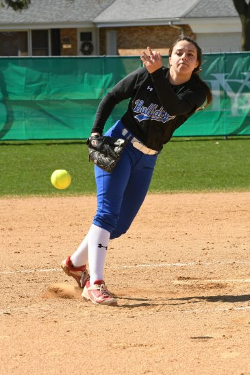 RBHS junior Nadia Ranieri is an excellent dual threat as a pitcher/hitter for the Bulldogs. (Photo by Toan Ngo)