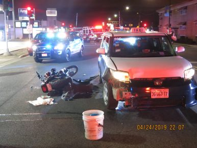 A 2009 Harley-Davidson motorcycle reportedly slammed into the back of a taxi at a high rate of speed on April 24, severely injuring the motorcyclist. (Photo courtesy of the Riverside Police Department)