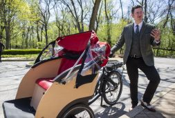 Gus Noble, president of SCOTS, stands near one of the Triobikes and talks about the different aspects to them on May 3, at the Caledonia Senior Living & Memory Care in North Riverside. | Alexa Rogals/Staff Photographer