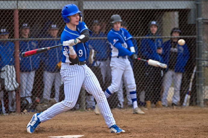 RBHS junior Mike Schicker has emerged as the Bulldogs' leader this season. The Purdue commit is a dual threat catcher with excellent hitting and defensive skills. (Alexa Rogals/Staff Photographer)
