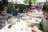 Children tackle an art project at the Riverside Arts Center tent during the 12th Annual Riverside Arts Weekend drew families to Guthrie Park in downtown Riverside. | Alexa Rogals/Staff Photographer