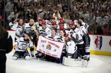 The Fenwick High School girls hockey team (24-5-1) won its first state championship this year, defeating New Trier 3-2 in the state final at the United Center. (Courtesy of Fenwick High School)