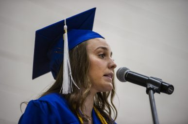 Michelle Jacobs, president of the student association executive board, gives her speech on Friday, May 24, during the class of 2019 commencement inside the gymnasium at Riverside Brookfield High School in Riverside. | Alexa Rogals/Staff Photographer
