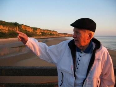 Bill Svrluga Sr. on Omaha Beach in 2003. | Photo courtesy of Barry Svrluga
