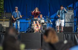 Country band Rockstar Rodeo performs on Saturday, July 27, during the North Riverside village block party in front of Village Commons on Des Plaines Avenue in North Riverside, Ill. (ALEXA ROGALS/Staff Photographer)