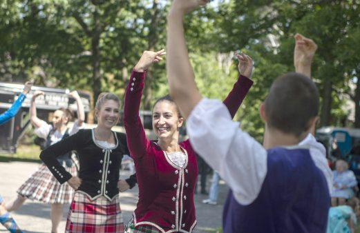 The Thistle and Heather Highland Dancers perform on Saturday, Aug. 3, during the Chicago Scots' 103rd annual picnic at Caledonia Senior Living and Memory Care in North Riverside. (Alexa Rogals/Staff Photographer)