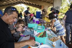 Groups participate in arts and crafts on Saturday, Sept. 14, during Meet The Creek event at Kiwanis Park in Brookfield.