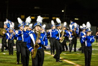 RB's marching band performs on Friday, Oct. 4, during the varsity homecoming football game against Ridgewood at Riverside-Brookfield High School. (ALEX ROGALS/Staff Photographer)