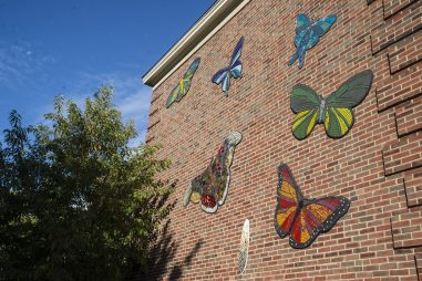 Mosaic tile butterflies comprise a new mural on the south wall of Hollywood School in Brookfield, the culmination of an artist-in-residence program funded by the school's PTA last spring. Artist Danielle Casali worked with students to create the colorful objects from cut glass, ceramic tile and mirror shards. For more photos, visit online at RBLandmark.com (Alex Rogals/Staff Photographer)