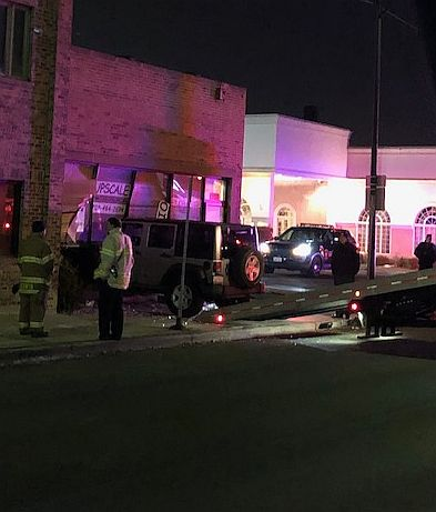 The Jeep caught on camera driving on downtown sidewalks eventually crashed made its way east on Herrick Road before crashing into a Berwyn business on Harlem Avenue. (Courtesy of the Riverside Police Department)