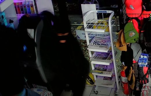 A burglary crew was able to pry the top off of the ATM inside a Riverside gas station minimart on Nov. 28, but the machine had no money in it at the time. (Courtesy of the Riverside Police Department)