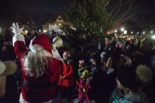 Santa leads the countdown to the tree lighting, kicking off the 45th Annual Riverside Holiday Stroll in the shadow of the water tower in the village's downtown on Dec. 6.