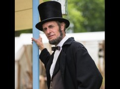 Kevin Wood portrays Abrahame Lincoln on Feb. 15 at the North Riverside Public Library.