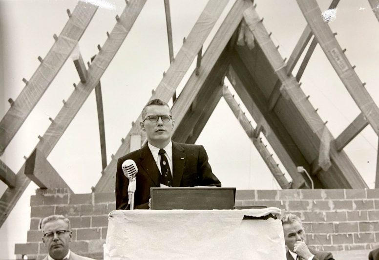 The Rev. John C. Talbot addresses the congregation of Community Presbyterian Church on Aug. 18, 1957 during a cornerstone-laying ceremony where they also placed a time capsule that was uncovered last month as North Riverside prepared to demolish the church. (PROVIDED)