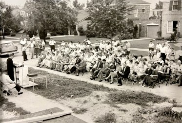 Members of North Riverside Community Presbyterian Church line 8th Avenue during the Aug. 18, 1957 cornerstone-laying ceremony. (PROVIDED)
