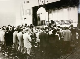 Before the congregation had its own house of worship, it held services at Komarek School. The first services were conducted in the basement of the school until 1953, when the new gym was completed (above).(PROVIDED)