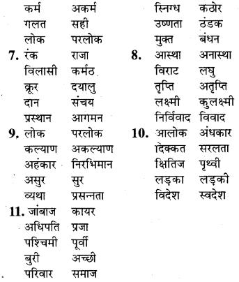RBSE Class 9 Hindi व्याकरण विलोम या विपरीतार्थक शब्द 5