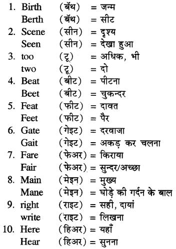 RBSE Class 5 English Vocabulary Homophones image 1