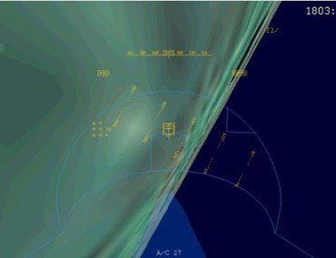 Capture de l'écran ACMI à l'angle d'inclinaison maximum. (ARC)