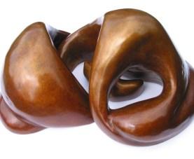 3 interlocking piece bronze sculpture of a Mother and Firstborn Baby